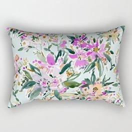 SWEPT AWAY Powder Blue Tropical Floral Rectangular Pillow