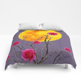 SURREAL FULL MOON & PINK WINTER ROSES Comforters