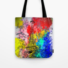 Eiffel Tower at Paris hotel and casino, Las Vegas, USA,with red blue yellow painting abstract backgr Tote Bag