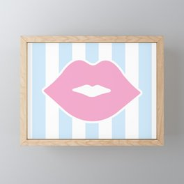 Pastel Lips with Stripes Framed Mini Art Print
