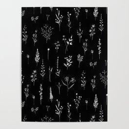 Black wildflowers Poster