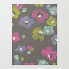 Watercolor Blooms - in Charcoal Canvas Print