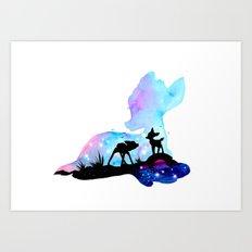 Bambi Double Exposure Art Print