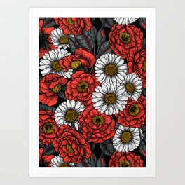 Roses and daisies bouquet Art Print