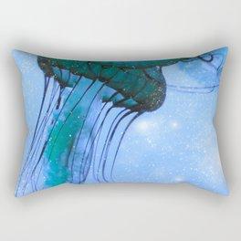 Blue Glow Jelly Fish Rectangular Pillow