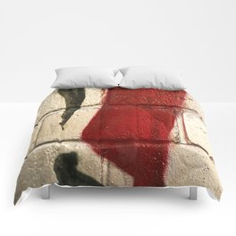 shiny silver spray paint background, red and black line, urban art Comforters