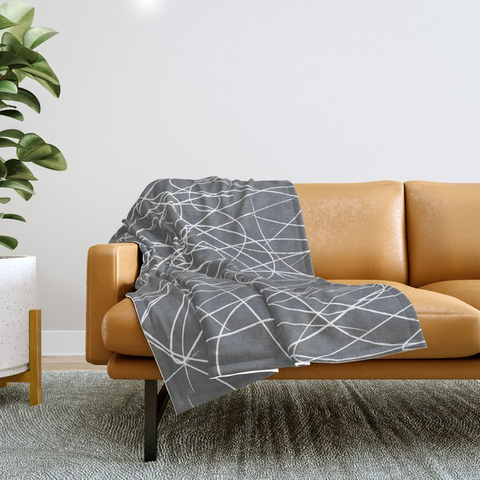 Hand Drawn Scribbles (Charcoal Grey) Throw Blanket
