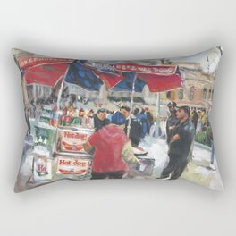 Hot dogs and soda sell well on the street outside the Metropolitan Museum, New York Rectangular Pillow