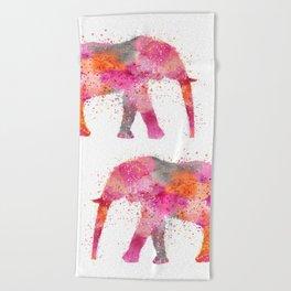 Artsy watercolor Elephant bright orange pink colors Beach Towel
