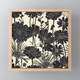 BLACK FLOWERS Framed Mini Art Print