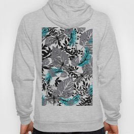 PALM LEAF DRAGONFLY BLUE FERN TOILE Hoody
