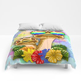 Ostrich Hawaii Fashion Funny Dudes Comforters