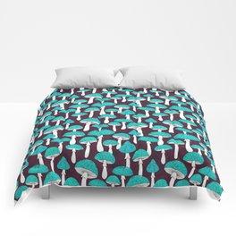 Blue mushrooms field on plum violet Comforters