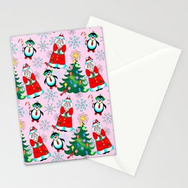 Santa and Penguin in Pink Stationery Cards