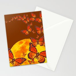 MONARCH BUTTERFLIES GOLDEN MOON BROWN FANTASY Stationery Cards