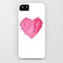 Watercolor Heart. Red pink home decor. Simple design. iPhone Case
