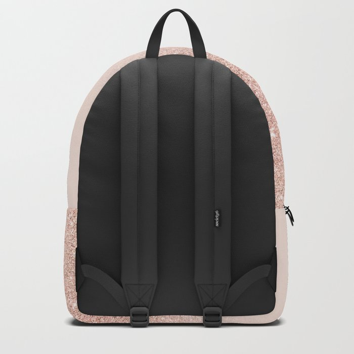 Rose gold faux glitter pink ombre color block Backpack