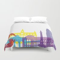 brussels Duvet Covers featuring Brussels skyline pop by Paulrommer