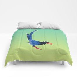 Low-poly blue bird Comforters