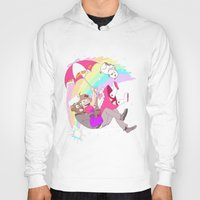bee and puppycat Hoodies featuring Puppycat Rainbow Fall by Beta PV