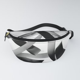 Black paper stripes Fanny Pack