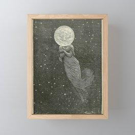 Antique Moon Woman Framed Mini Art Print