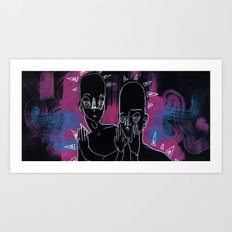 Pink and Blue Waves Art Print