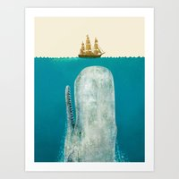 Art Prints featuring The Whale - colour option by Terry Fan