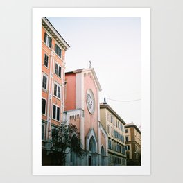 Pastel colored street | Travel photography print Rome, Italy | Pastel colored wall art Art Print