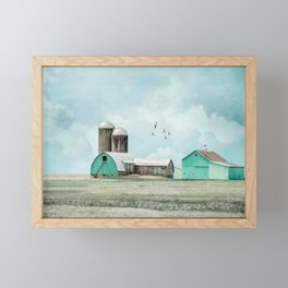 Aqua Barns Framed Mini Art Print