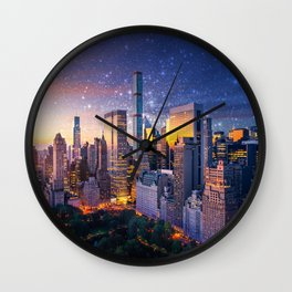 New York City - Fantasy Sunset Wall Clock