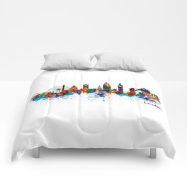 London Watercolor Skyline Silhouette Comforters