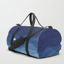 blue ocean waves, sailboat ocean stars Duffle Bag