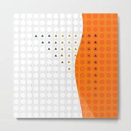 Orange and White Wavy Geometric Dot and Triangle Metal Print