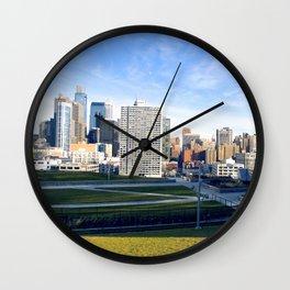 A Green Skyline Wall Clock