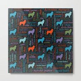 Australian Shepherd Aussie Word Art Metal Print