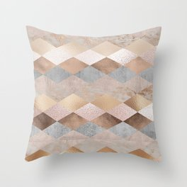 Copper and Blush Rose Gold Marble Argyle Throw Pillow
