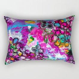 Mixed Media - Floral Painting - Abstract Rectangular Pillow