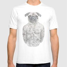2 pug White MEDIUM Mens Fitted Tee