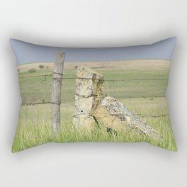 Kansas Limestone Fence Post with grass and blue sky Rectangular Pillow