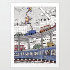 Taking the Red Line Art Print