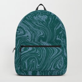 Blue-green abstract marble pattern Backpack
