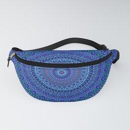 Blue Floral Ornate Mandala Fanny Pack