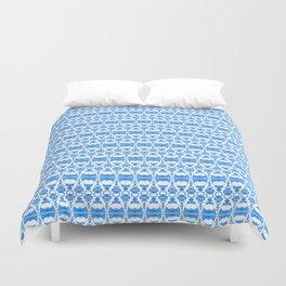 Dividers 02 in Blue over White Duvet Cover