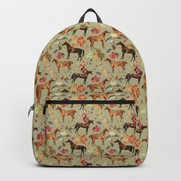 AUTUMN HORSES - Sage green  Backpack