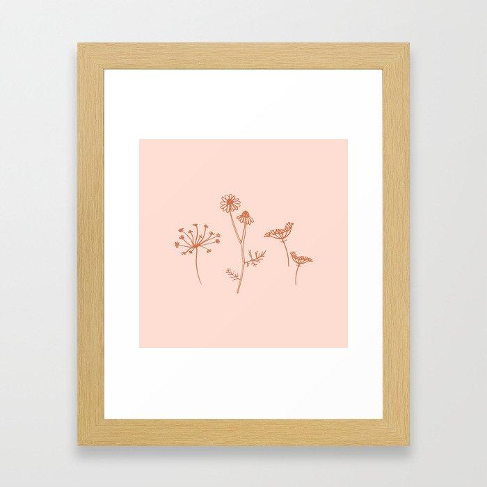 Wildflower Line Art Framed Art Print