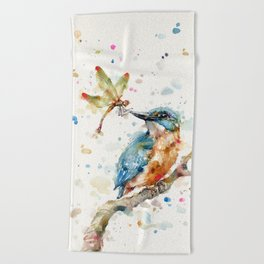 Interesting Relationships (Kingfisher & Dragonfly) Beach Towel