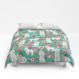 Cockapoo floral dog breed dog pattern pet friendly cocker spaniel poodle Comforters