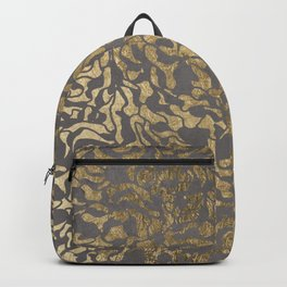 Faux gold foil abstract geometric on grey concrete cement Backpack