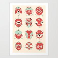 Robot Heads Art Print